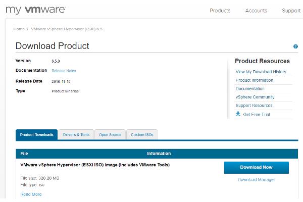 Der VMware ESXi-Hypervosor lässt sich als ISO, Offline-Bundle oder als Update.Paket für VUM herunterladen (Thomas Drilling)
