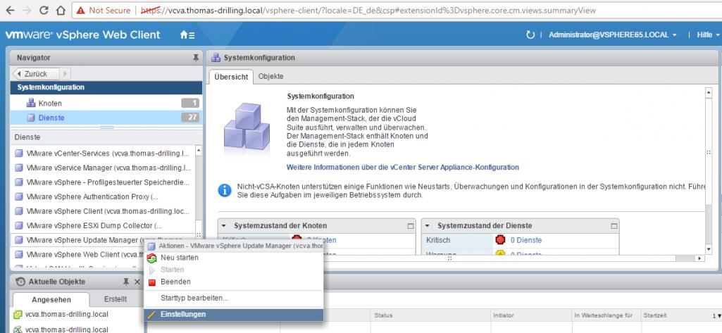 vSphere Update Manager (VUM) installieren