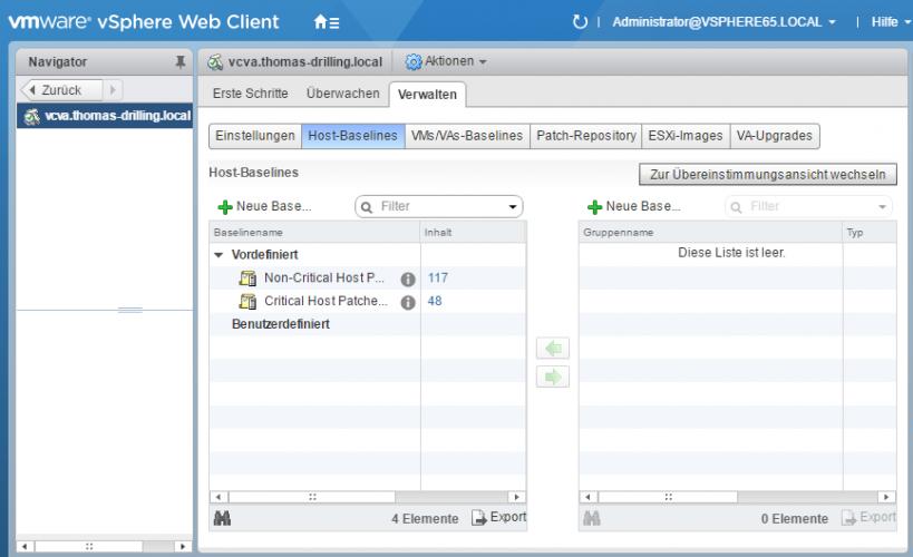 Baselines für vSphere Update Manager (VUM) konfigurieren