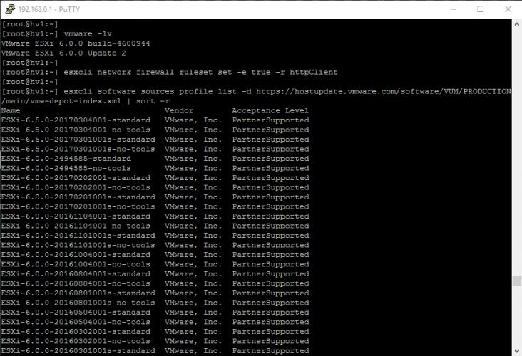 Upgrade auf ESXi 6.5 direkt vom VMware Online-Depot