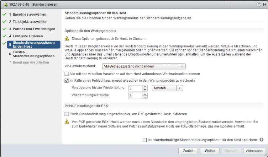 Patches für ESXi verteilen mit dem vSphere Update Manager (VUM)