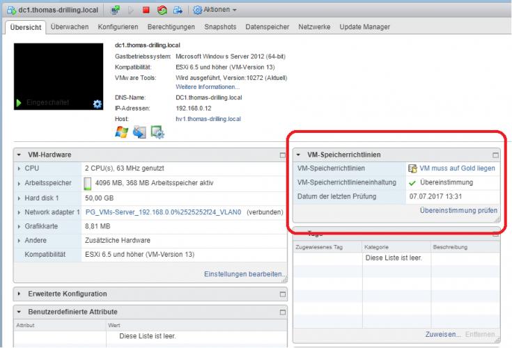 Richtlinienbasiertes Speicher-Management in VMware vSphere