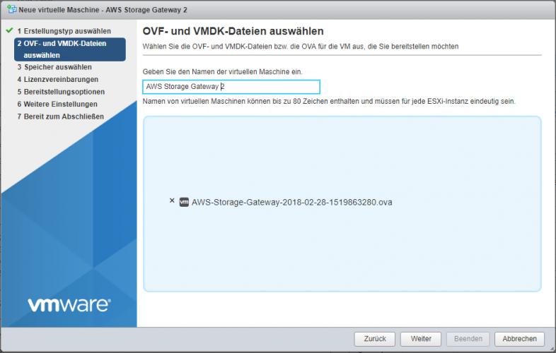 AWS Storage Gateway unter VMware ESXi