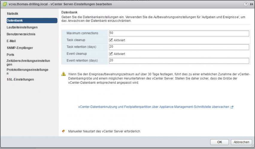 VSCA-Upgrade: vCenter-Datenbank bereinigen: