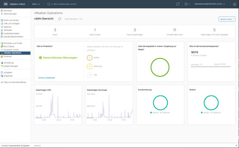 Integrität und Leistung von VMware vSAN mit vRealize Operations Manager prüfen