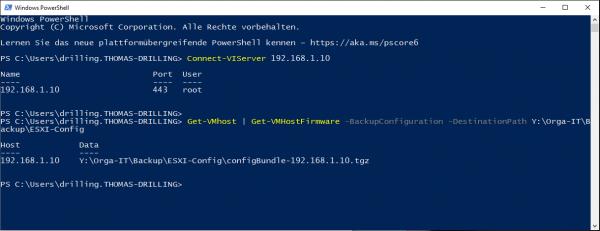 Konfiguration eines ESXi-Hosts via PowerCLI sichern